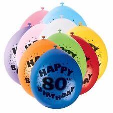 80th Happy Birthday Latex Balloons 10pk