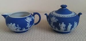 Vintage Wedgwood Portland Blue Jasperware Sugar Bowl & Creamer  Set