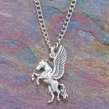 925 sterling silver PEGASUS Winged Flying Horse Charm Pendant Chain Necklace