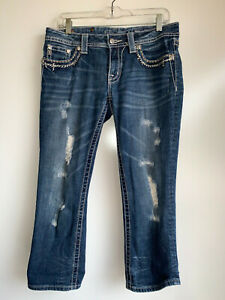 MISS ME Women's Distressed Crop Jeans {JE5835C} Size 29 ~Great Condition~