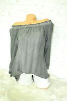 Italy Shirt  Offshoulder Bluse Gr. 36 38 40 blogger grau Vintage Schleifen