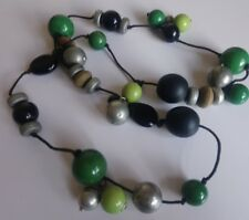 Womens Green Silver Black Chunky Wood Cluster Beaded Necklace Long Hippie 174 H2