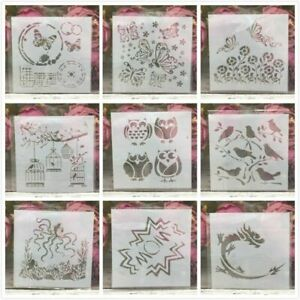 9Pcs 13cm DIY Owl Bird Dragon Octopus Layering Stencils Painting Scrapbooking