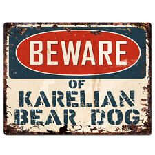 Ppdg0101 Beware of Karelian Bear Dog Plate Rustic Tin Chic Sign Decor Gift
