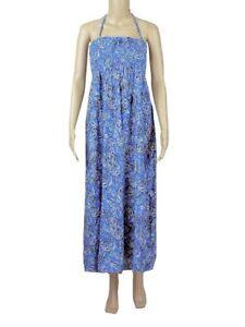 EX M&S BLUE/BLACK/WHITE ROUCHED TOP MAXI DRESS - PETITE/REG/LONG - SIZES 8 - 12