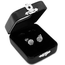 Men's Silver Hip Hop Iced Out Paved Cz Round Screw Back Stud Earrings S E22