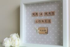 Personalised Handmade Wedding Marriage Photo Frame Gift Present Mr and Mrs polka