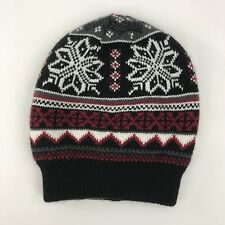 bb4483a813d Muk Luks Reversible Beanie Hat Ski Winter Black Red Snowflakes Cable Acrylic