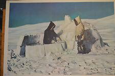 Wandbild Iglo Eskimo Schneehaus vintage Igloo chart 92x64 ~1959 Ice age Canada