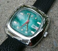 Vintage 1970´s Space Age NOS Elida 21 Watch / Armbanduhr - Green Dial