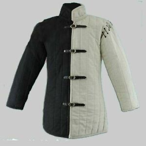 Medieval Celtic Viking Padded Armour White&Brown Color Gambeson Without Sleeves