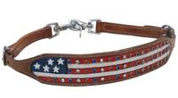 American Flag Leather Wither Strap Tie Down Barrel Racing BONUS 2 Trigger Snaps