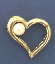 STERLING SILVER VINTAGE BRACELET CHARM  A24   HEART WITH PEARL
