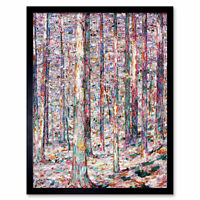 Rohlfs Pine Tree Trunks Expressionist Painting Art Print Framed 12x16