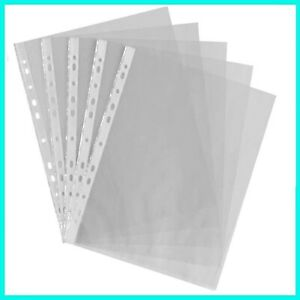 100 x BUSTE PLASTIFICATE A4 PER RACCOGLITORE AD ANELLI TRASPARENTI IN PLASTICA