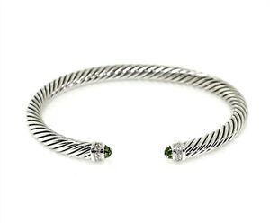 David Yurman 925 Sterling Silver 5mm Diamond Peridot Cable Classic Bracelet