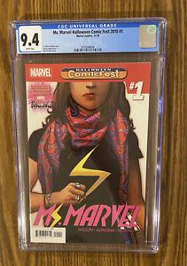 Ms. Marvel #1 Halloween Comic Fest ~ Kamala Khan Disney + CGC 9.4🔥 🔑 🔥