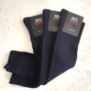 3 Pair Men's Knee Socks with Extra Soft Comfort Waistband Dark Blue 43 To 46