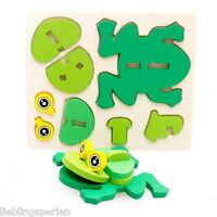 LP:1Set Kinderpuzzel Lernspielzeug Puzzlespiel Frosch 3D Holzpuzzle 18x15cm