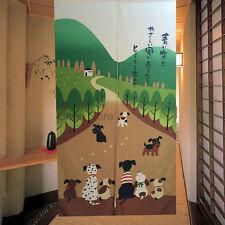 Lovely Japanese Noren Door Tapestry Happy Dog Pattern Doorway Hanging Curtain
