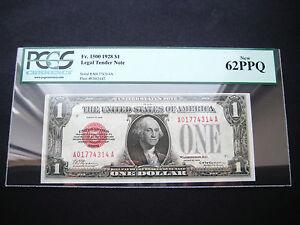 WOW RARE $1 1928 FR 1500 LEGAL TENDER NOTE CHOICE GEM UNC BU NOTE***PCGS 62***