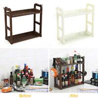 2 Tier Kitchen Spice Rack Bathroom Countertop Storage Standing Organizer Shelf