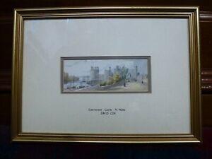 Vintage David Cox genuine Watercolour painting Frame Welsh art Caernarfon castle