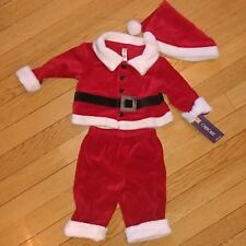 New 3 Piece Baby Boy Cherokee Christmas Santa Suit Outfit 0-3 Months & Red Hat