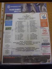26/12/2011 Colour teamsheet: Huddersfield Town v Chesterfield. Thanks for Tak