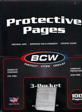 100 PAGES*BCW*3-POCKETS CURRENCY COLLECTORS HOLDERS SLEEVES PAGES*LOT O10*