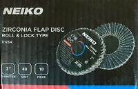 Neiko Roloc Type 2-Inch Flap Disc, Zirconia, 10 Pieces