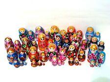 Lot of 5 Russian Hand Painted Nesting Doll Matryoshka Sets 5 pcs Piece each