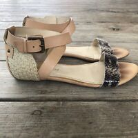 Enzo Angiolini Flat Summer Sandal Ankle Strap Tan / Gray Snake Size 8.5