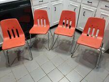 "Lot of 4 Vintage Virco Martest School Chair 17"" Seat Height orange"