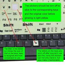 LUMINOUS BOLD FONT KEYBOARD STICKERS - BASIC KEYS SET - FREE RECORDED UK POST