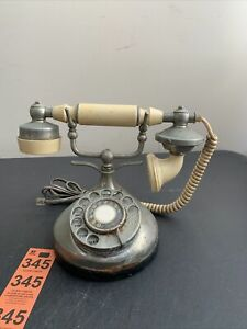 Vintage ITT OWN-A-PHONE French Style Rotary Phone Cream And Silver Colored