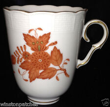 """HEREND HUNGARY CHINESE BOUQUET RUST TREMBLEUSE CUP 3 1/4"""" FLOWERS & LEAVES 713"""