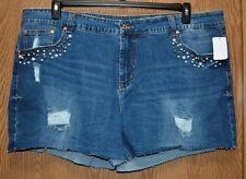 3df72813c90 Womens Prefaded Distressed Denim UNIONBAY Beaded Shorts Size 18