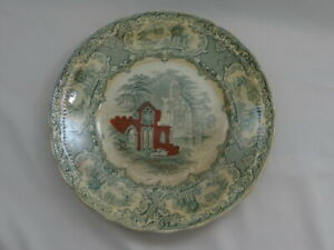 """Petrus Regout Maastricht 9"""" Plate Antique Made in Holland ABBEY Green & Red"""