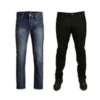 Mens Jack & Jones Black Slim Fit Stretch Designer Straight Leg Pants Jeans