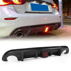 Carbon Fiber Rear Bumper Diffuser Body Kit for Infiniti Q50 2014-2017 W/ Light D