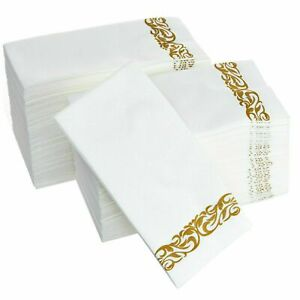 Disposable Hand Towels Soft and Absorbent Linen-Feel Paper Guest Towels
