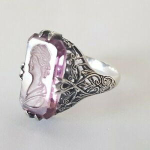 Signed Vintage Antique Sterling Silver Intaglio Cameo Ring Amethyst Glass Sz 8.5
