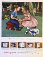 Original 1949 Print Ad JOHNSON & JOHNSON Bandages Mommy Always Says