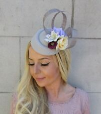 Grey Cream Purple Rose Flower Pillbox Hat Hair Fascinator Clip Races Vtg 5839