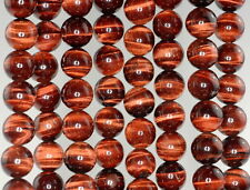 12MM MAHOGANY RED TIGER EYE GEMSTONE GRADE AA ROUND LOOSE BEADS 15.5""