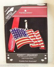 Harvey Lewis American Flag Christmas Ornament w/ Crystallized Swarovski Elements