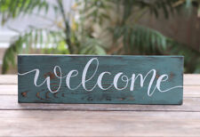 Welcome Sign Rustic Distressed Wood Teal Blue White Farmhouse Decor 12 inch