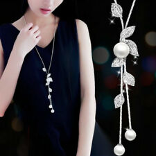 925 Silver Women Pearl Crystal Leaves Flower Multilayer Pendant Necklace Jewelry