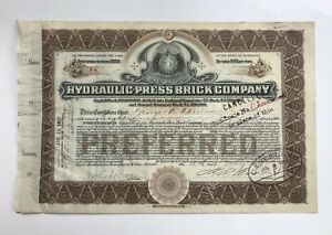 US 1907 Hydraulic Press Brick Company Stock Certificate W.H Eliot Signature